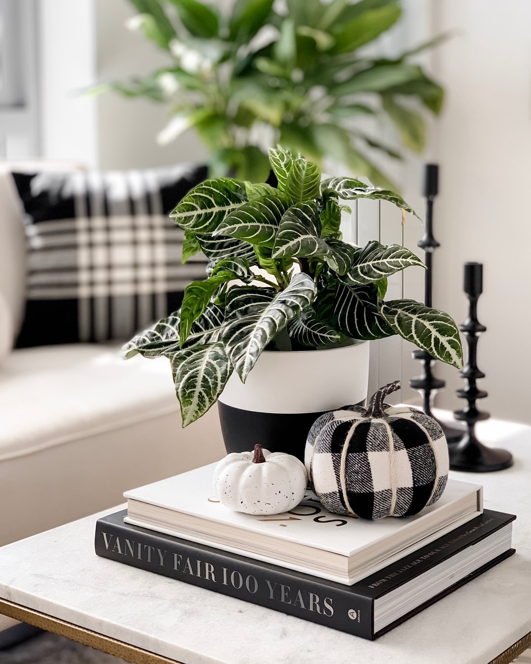 A stack of coffee table books with a plush pumpkin and white pumpkin on top with a potted plant.